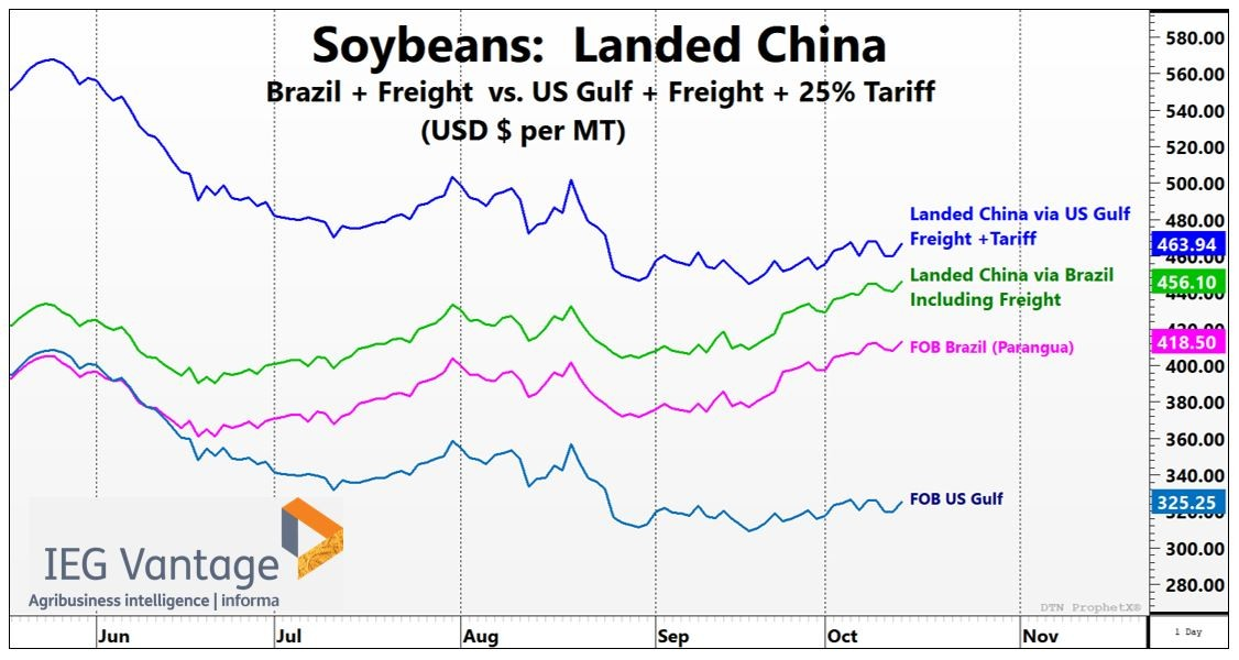 U.S. Soybeans vs. Brazil, delivered to China. Image courtesy of Informa Economics.